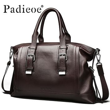 Vintage Genuine leather Men's Briefcase Business Men Messenger Bag Leather Casual Shoulder Bag Leather Office Bags