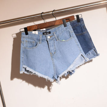 Korean Summer Vintage High Rise Strong Character Denim Pants Shorts [6034436289]
