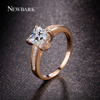 NEWBARK Princess Cut CZ Diamond Jewelry Paved Tiny CZ Engagement Rings For Women 18k Rose And White Gold Plated Wedding Bands