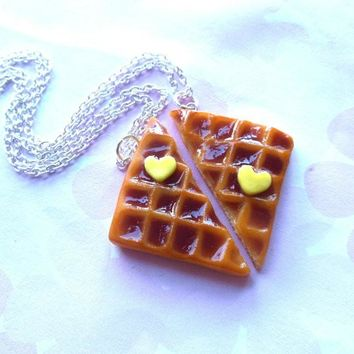Waffle Best Friend BFF Necklaces Necklace Set Friendship Necklaces