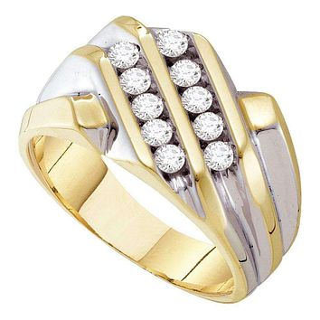 10kt Yellow Gold Men's Round Diamond Double Row Band Ring 1/2 Cttw - FREE Shipping (USA/CAN)