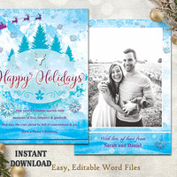 Christmas Card Template - Holiday Greeting Card - Christmas Tree Card - Printable Card - Photo Card - Editable Word Template - Blue DIY Card