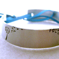 Dandelion and Fluff Metal Stamped Cuff Bracelet Bangle with Ribbon