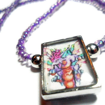 Secret of Mana pendant Mana Beast necklace with lavender seed beads, video game jewelry, geeky, gamer gift