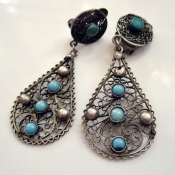 Vintage Egyptian Silver Filigree and Turquoise Glass Clip On Earrings