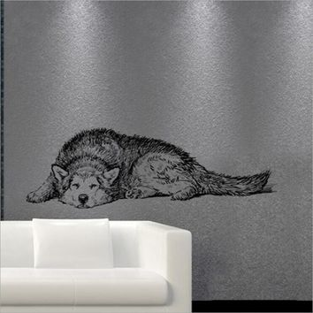 Creative Animals Pets Dog Husky Removable Wall Stickers Living Room Waterproof Poster Background Kid Room Home Decor Mural Decal