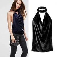 Fashion Halter Backless Velvet Solid Color Sleeveless V-Neck Vest Tops