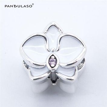 Pandulaso 925 Sterling Silver Jewelry White Orchid Charm Fit Brand Bracelets & Bangles DIY Woman Beads For Jewelry Making
