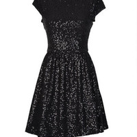 Disco Sequin Party Dress - Black