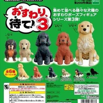 Epoch Sit & Wait Sitting Dog Gashapon Part 3 6 Collection Figure Set