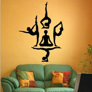 Buddha Vinyl Wall Stickers Removable Wall Decal Chakra Mandala Mantra Chakra Meditation Sticker Decor yoga Room Poster Wallpaper