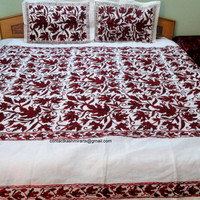 Bedspread Burgundy White/Red Embroidered Bed Cover/Maroon bedding set/CA king queen size bedding/Cranberry/Wine Duvet Doona cover