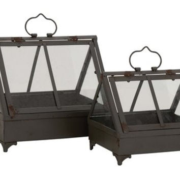 Smart Styled Attractive Metal Glass Planters Set of 2