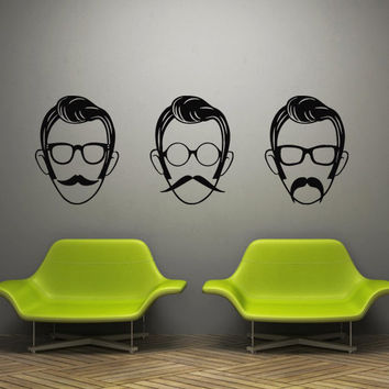 Wall decal decor decals art face man head mustache glasses butterfly detective identikit (m497)