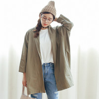Open Front Batwing Sleeve Patch Pocket Coat