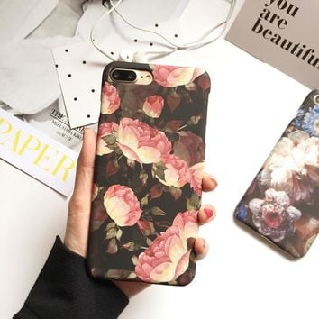Case for iPhone7 plus Fahion Retro Flower Cover coque for iPhone 6 6s 6plus 6splus Frosted Hard Case Oil Painting fundas para