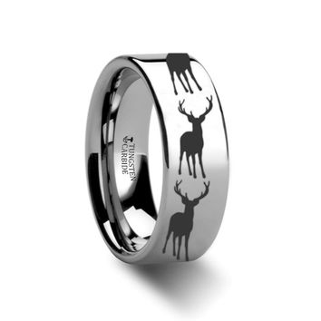 Laser Etched Elk Deer Stag with Antlers on Polished Tungsten Band