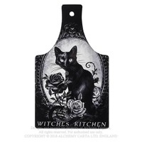 Alchemy Gothic Black Kitty Cat's Kitchen Cutting Board Occult