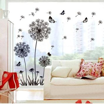 Black Dandelion Glass Wall Stickers Decals Adhesive Removal Flower Vinyl Wallpaper Mural Girls Women Home Room Window DIY Decor