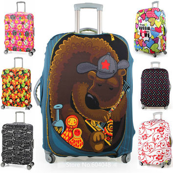 Free shipping printed elastic polyester travel luggage cover for 20-32inch suitcase Protective Cover Travel Trunk Dirt-Proof