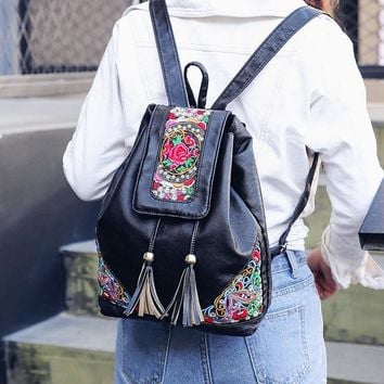 Women National Rose Embroidery Vintage Backpack Travel Bags Shoulder Bags Tassels PU Black Ethnic Vintage Faux Leather Retro