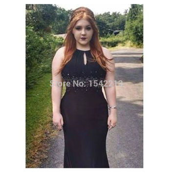 Halter Style Beaded Black Mermaid Prom Dress Evening Gowns Formal Cheap Special Occasion Dresses 2016