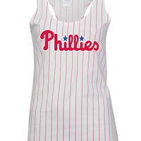 Philadelphia Phillies Womens Tank Top - White Philadelphia Pin Stripes Sleeveless Shirt