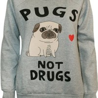 "Womens ""Pugs Not Drugs"" Print Long S Sweatshirt Jumper (4-6, WINE)"