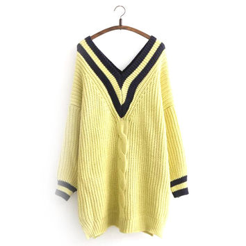 Korean Sweater Navy V-neck Plus Size Twisted Knit Tops One Piece Dress [8216403073]