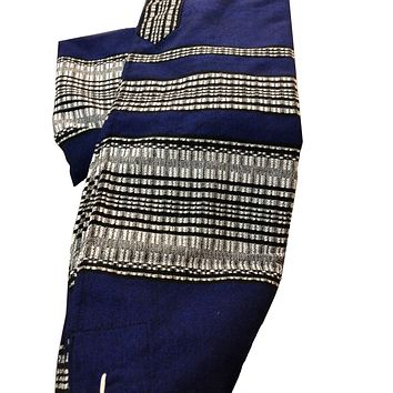 Wool Tallit - Blue with Grey & Black Scale Stripes