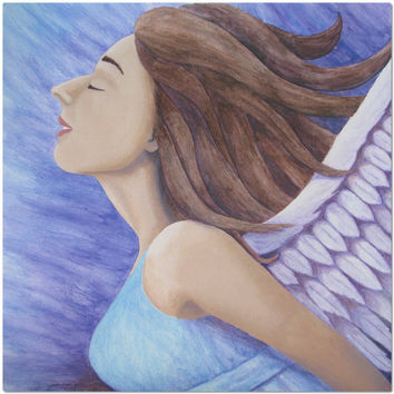 Air Goddess Flying - Placemat of Angel Acrylic Paint and Watercolor Pencil Fine Art