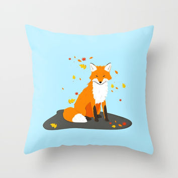 Fox in Fall – blue Throw Pillow by Creative Break