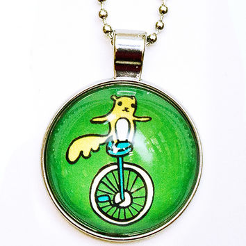 Unicycle Necklace - Green Necklace - Squirrel Necklace