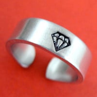 Diamond Ring - Hand Stamped Adjustable Narrow Aluminum Ring