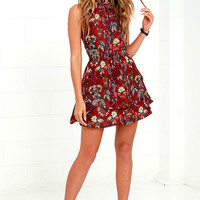 Moon River Calla Burgundy Floral Print Dress