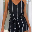 Black Striped Spaghetti Strap Loose Romper