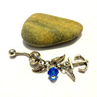 Nautical Anchor Charm Belly Button Ring