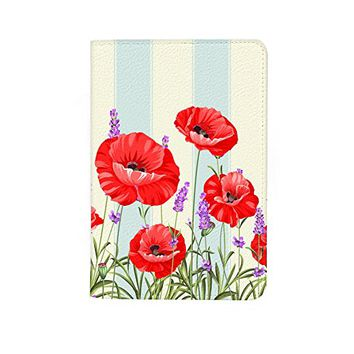 Poppy Flower Leather Passport Holder Protector Cover_SUPERTRAMPshop