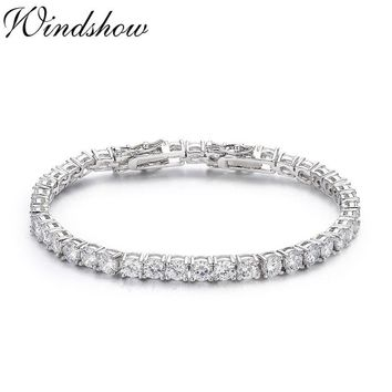 925 Sterling Silver Cluster Round CZ Zironia Tennis Bracelets Pulseras Pulseira Bracelete Women Wedding Jewelry Girls Friend