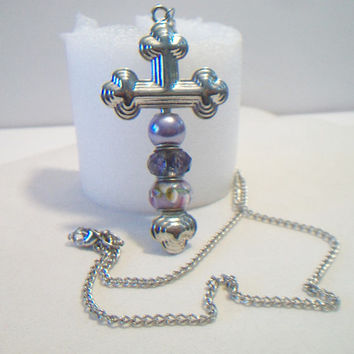 Chunky Cross Pendant Purple European Glass Beads Beaded Necklace Jewelry