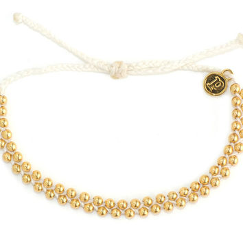 Gold Track Bead White