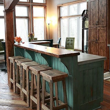 "YOUR Reclaimed Rustic and Recycled Oak Barn Wood 33""-36"" inch tall Rectangle Top Bar Stool"
