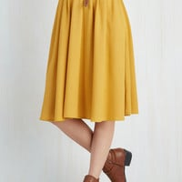 Boho Mid-length Full Breathtaking Tiger Lilies Skirt in Mustard