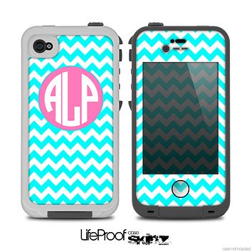 The Turquoise & White Chevron with Pink Circle Monogram Skin for the iPhone 4-4s LifeProof Case