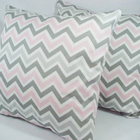Two Chevron Nursery Pillows - Baby Pink Grey and White - 16 x 16 inches Throw Pillow Couch Pillow Cushion Cover Accent Pillow
