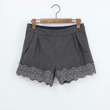Winter Korean Stylish Lace Patchwork Casual Pants Boot Cut Shorts [8997657607]