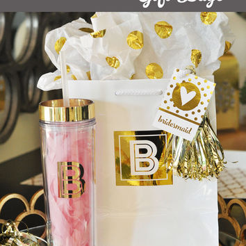 Monogram Tumblers Personalized Bridesmaids Gifts Bridesmaid Tumblers Gold Tumbler Cups Bridal Party Tumblers Skinny Tumbler (EB3113)