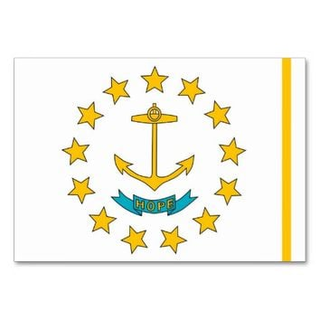 Patriotic table card with Flag of Rhode Island