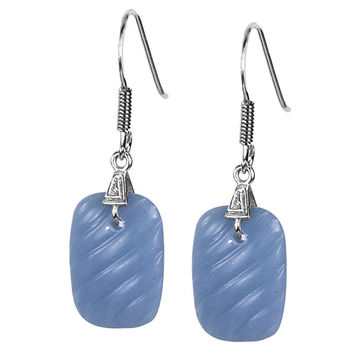Cushion Carving Moonstone Earrings in Sterling Silver