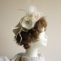 Vintage Style Wedding Cocktail Hat , Ivory and White,Swarovski pearls and crystals, feathers